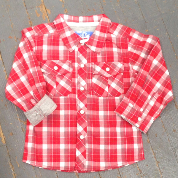 Kanz Junior Boys Kapital K Style Long Sleeve Button Up Collared Red Grey Plaid ShirtKapital K Boys Style Long Sleeve Button Up Collared Red Grey Plaid Shirt