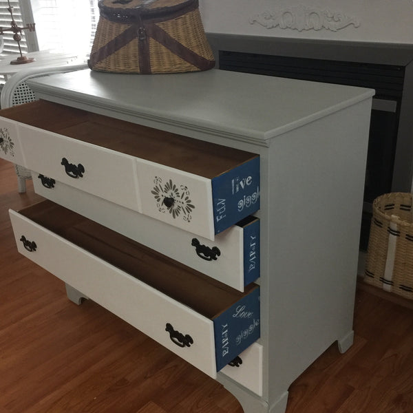 White Hand Painted Wooden Four Drawer Chest Dresser