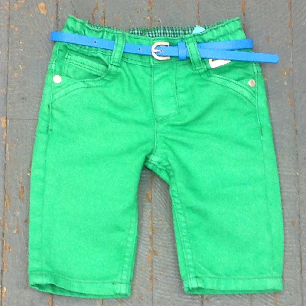 Kanz Newborn Infant Boys Moped Ride Style Elastic Waist Green Denim Jean Pant
