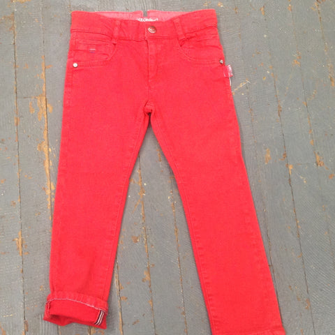 Kanz Junior Boys Sailing Slim Fit Style Adjustable Waist Red Denim Jean Pant