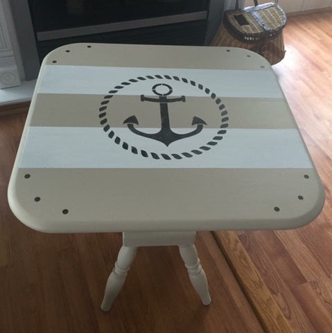 Hand Painted Nautical Anchor Wooden Side Lamp Table