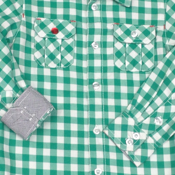 Kanz Junior Boys Urban Style Long Sleeve Button Up Collared Green Plaid Shirt