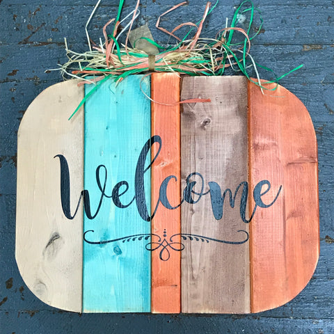 Wood Pallet Pumpkin Welcome Fall Decoration