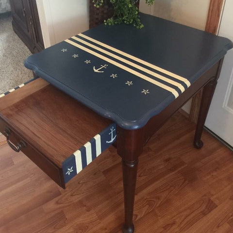 Hand Painted Nautical Wooden Cherry Side Lamp End Table Desk