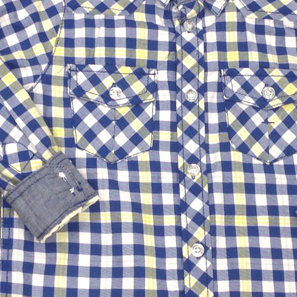 Kanz Junior Boys Motor Rider Style Long Sleeve Button Up Collared Blue Yellow Plaid Shirt
