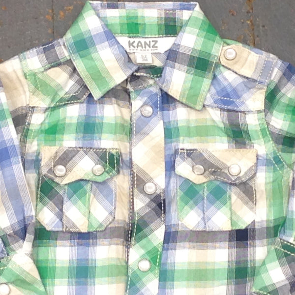 Kanz Newborn Infant Boys Moped Ride Style Long Sleeve Button Up Collared Green Plaid Shirt