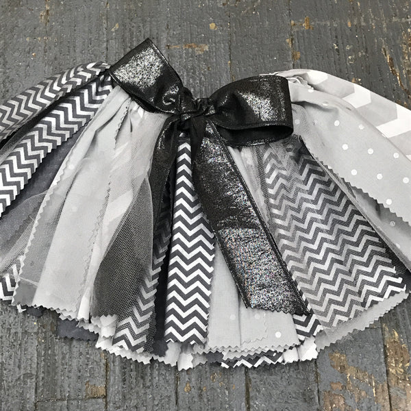 Infant Toddler TuTu Birthday Party Skirt Photography Dress Up Black Silver Grey