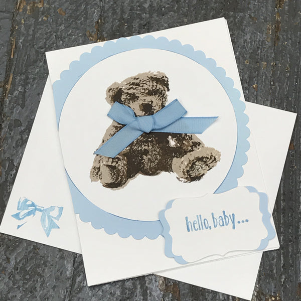 Hello Baby Arrival Blue Boy Handmade Stampin Up Greeting Card with Envelope