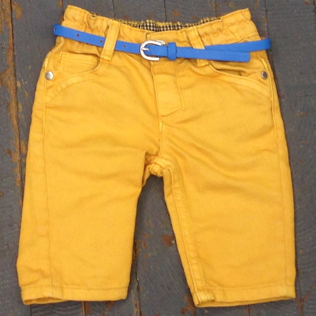 Kanz Newborn Infant Boys Moped Ride Style Elastic Waist Yellow Denim Jean Pant