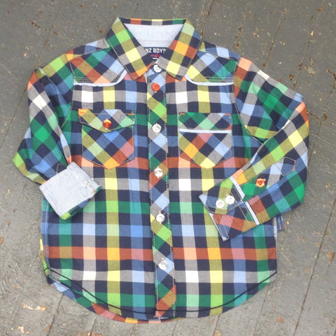 Kanz Junior Boys Urban Style Long Sleeve Button Up Plaid Shirt