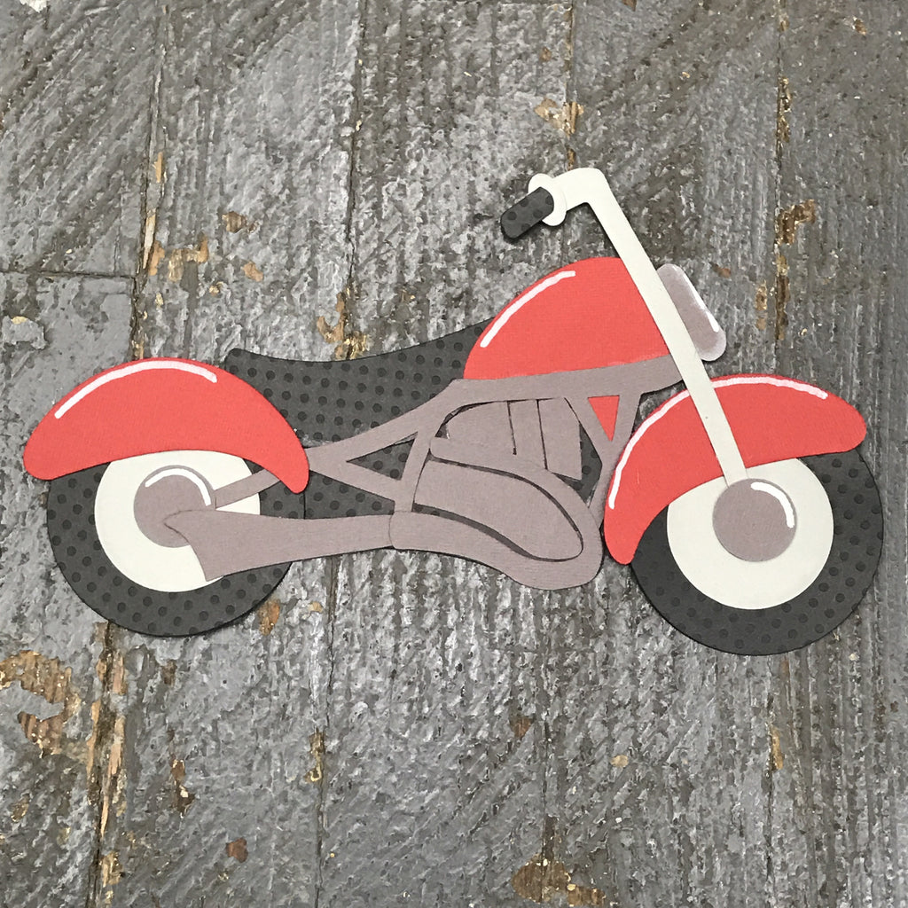 Motorcycle Biker Bike Handmade Cut Out Paper Scrapbook Embellishment Gift Package Tag