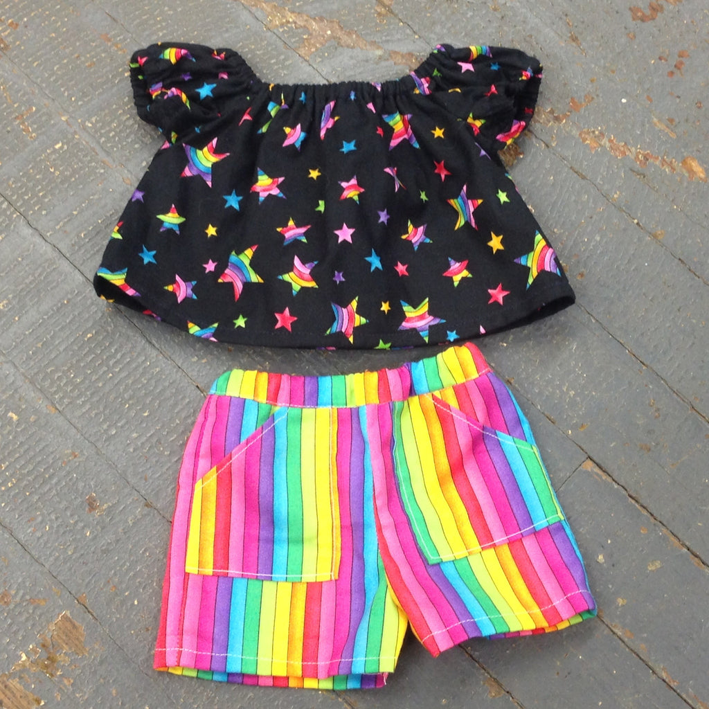 "18"" Doll Clothes Outfit Rainbow Striped Shorts and Shirt Top"