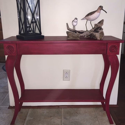 Hand Painted Wooden Red Sofa Side Entry Table