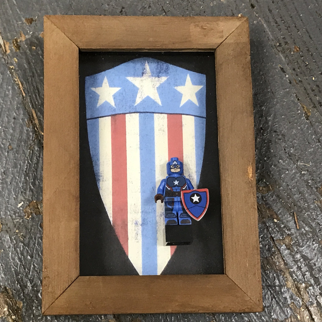 Captain America Comic Lego Figurine Wall Display Picture Frame Toy Art