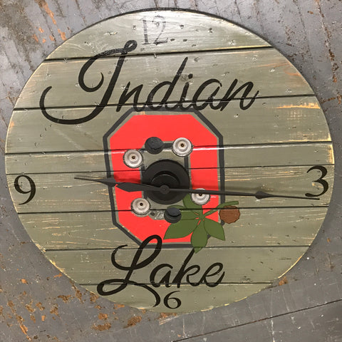 "40"" Round OSU Buckeye Wooden Indian Lake Clock Painted"