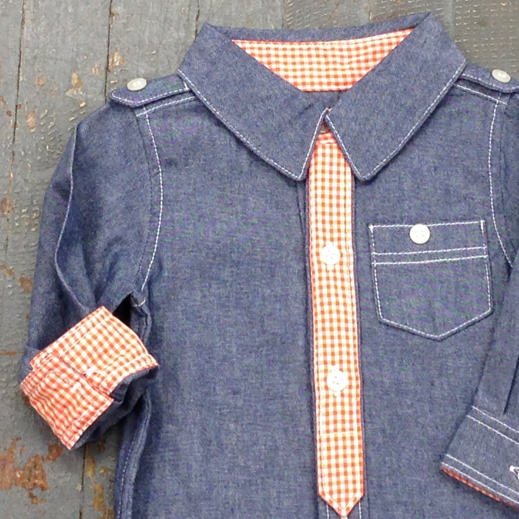 Kapital K Boys Style Long Sleeve Button Up Collared Denim Organe Check Shirt