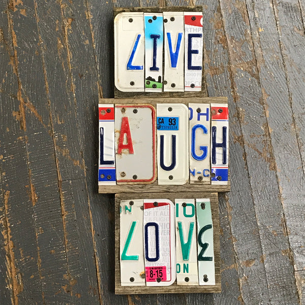 Live Laugh Love License Plate Block Word Art