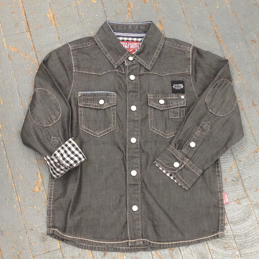 Kanz Junior Boys Bikers Style Long Sleeve Button Up Collared Black Denim Shirt