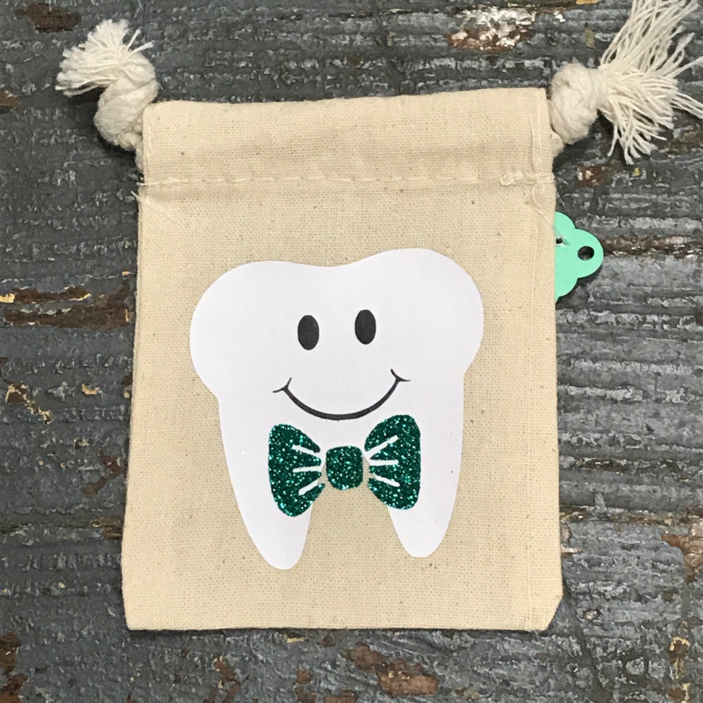 Tooth Fairy Keepsake Tooth Keeper Glitter Drawstring Bag Green