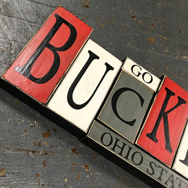 Wood Word Block Set Football College Ohio State Buckeyes