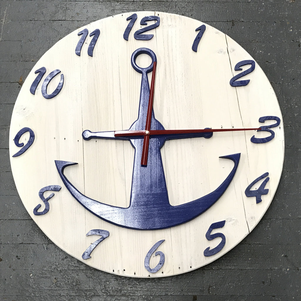 "24"" Round Nautical Wooden Anchor Clock Painted"