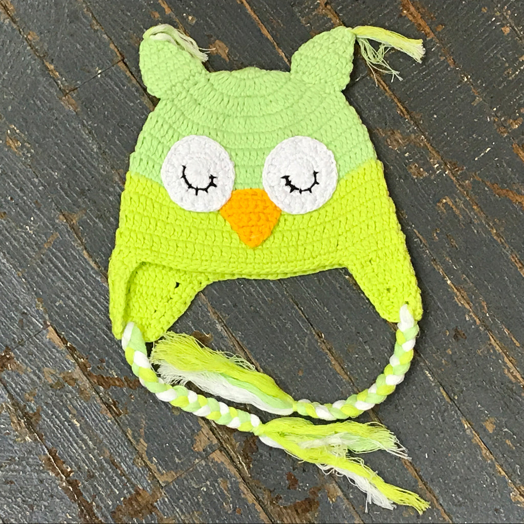 Crocheted Youth Toddler Child Winter Hat Owl Green