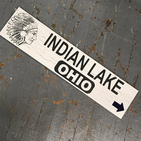 Indian Lake Ohio Indian Head Arrow Tourist Souvenir Sign Black