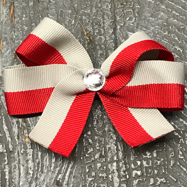 Hair Clip Ribbon Headband Bow Sports Team Color Red Gray