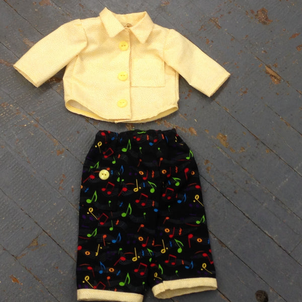 "18"" Doll Clothes Outfit Yellow Rainbow Music Notes Pants and Shirt Top"