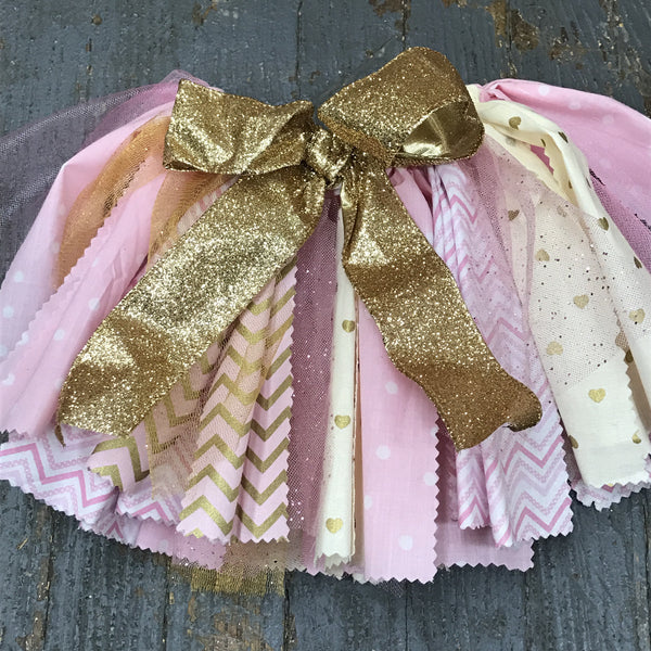 Infant Toddler TuTu Birthday Party Skirt Photography Dress Up Pink Gold
