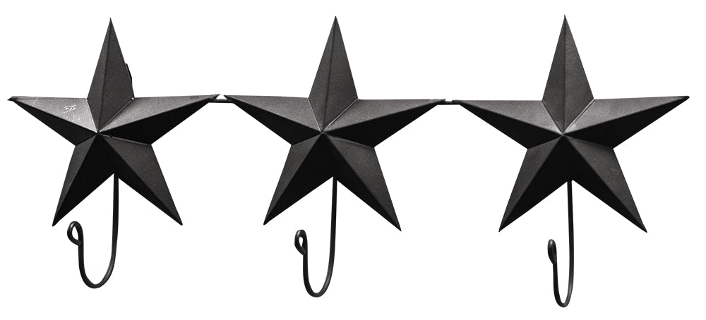 Black Triple Star Wall Hanger Hook