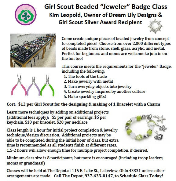 Girl Scout Beaded Jewelry Making at The Depot