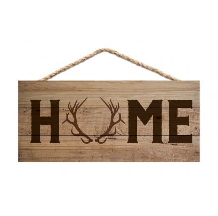 Jute Hanging Sign Home Deer Antler