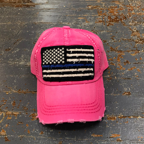 American Flag Blue Line Patch Faded Pink Embroidered Ball Cap