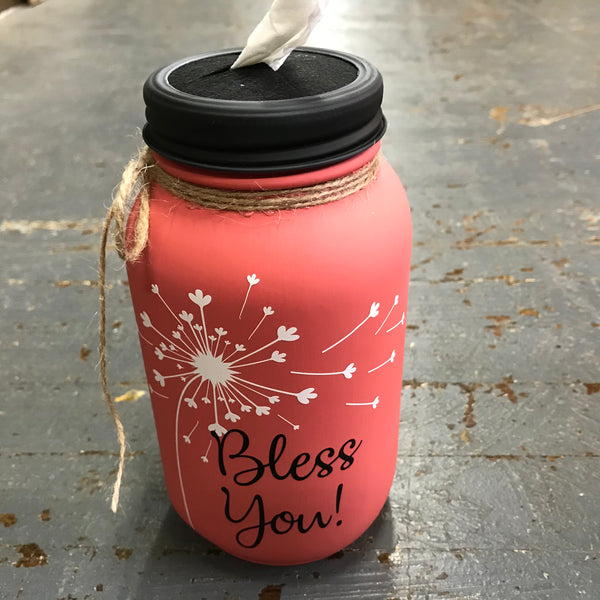 Mason Jar Tissue Holder Bless You Dandelion Blush