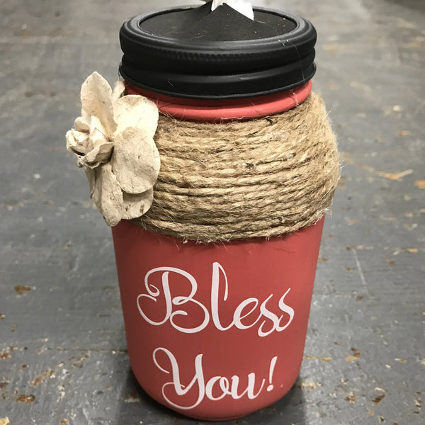 Mason Jar Tissue Holder Bless You Blush