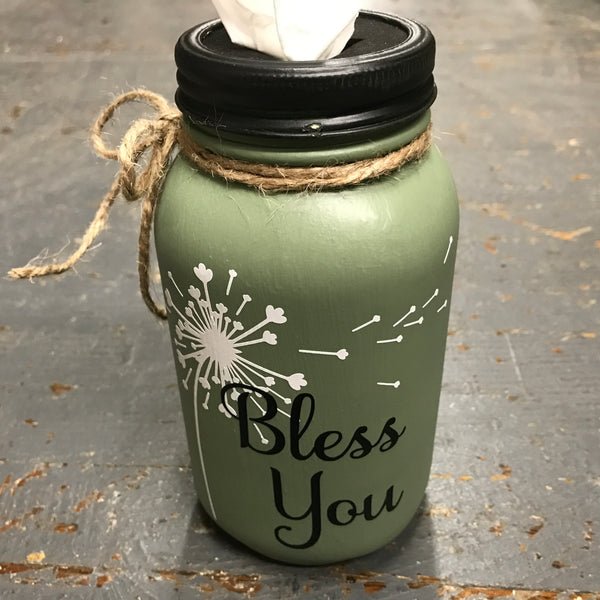 Mason Jar Tissue Holder Bless You Dandelion Sage Green