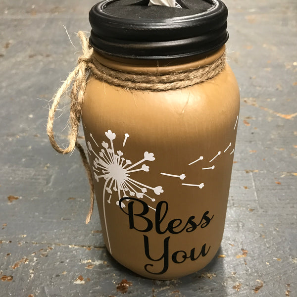 Mason Jar Tissue Holder Bless You Dandelion Tan Brown