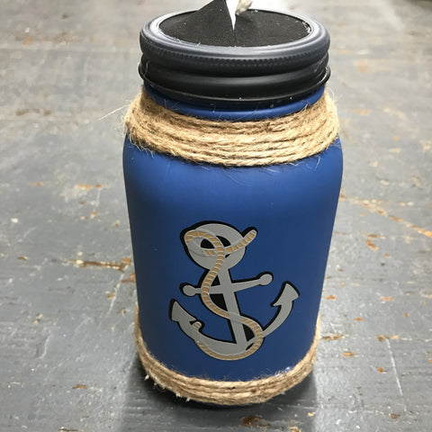 Mason Jar Tissue Holder Nautical Ship Boat Anchor