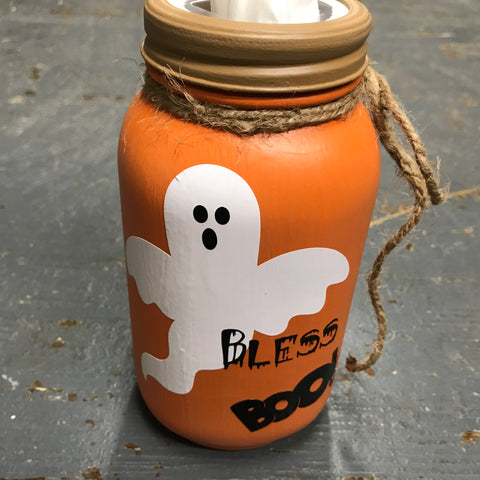 Mason Jar Tissue Holder Bless Boo Halloween Ghost