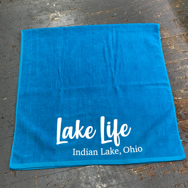 Indian Lake Ohio Lake Life Printed Beach Towel Aqua Blue