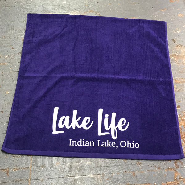 Indian Lake Ohio Lake Life Printed Beach Towel Plum
