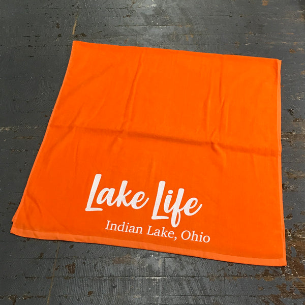 Indian Lake Ohio Lake Life Printed Beach Towel Tangerine Orange
