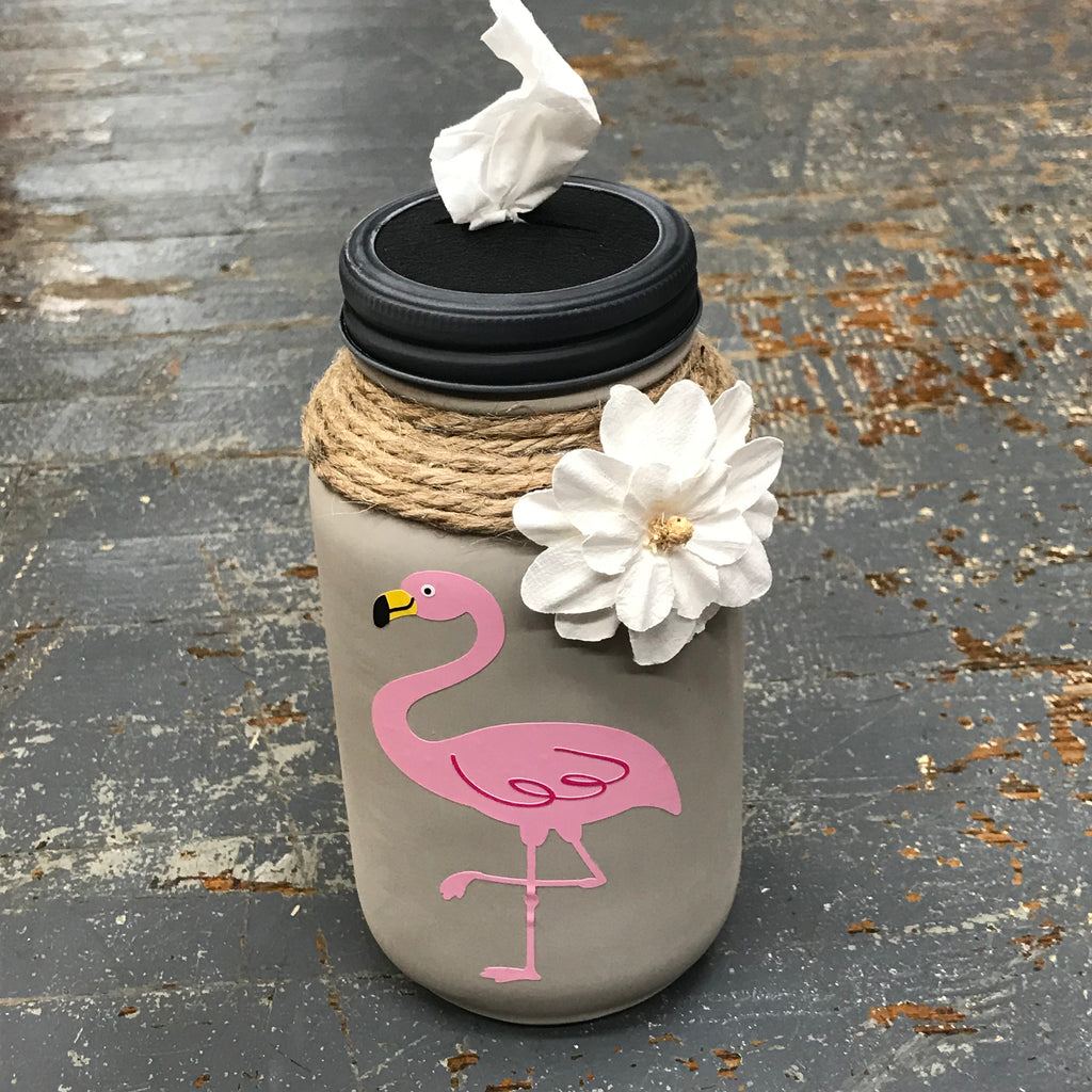 Mason Jar Tissue Holder Pink Flamingo
