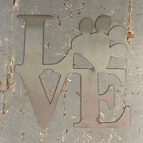 Puppy Paw Print LOVE Metal Sign Wall Hanger