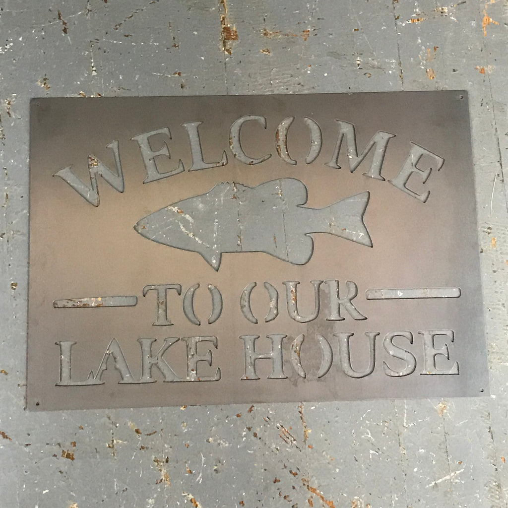 Welcome to Our Lake House Metal Sign Wall Hanger