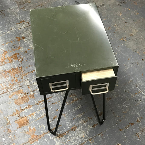 Upcycled File Drawer Top End Table Welded Art Deco Legs