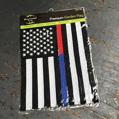 American Flag Embroidered Stars Thin Red Blue Line Police Fire EMS Garden Flag