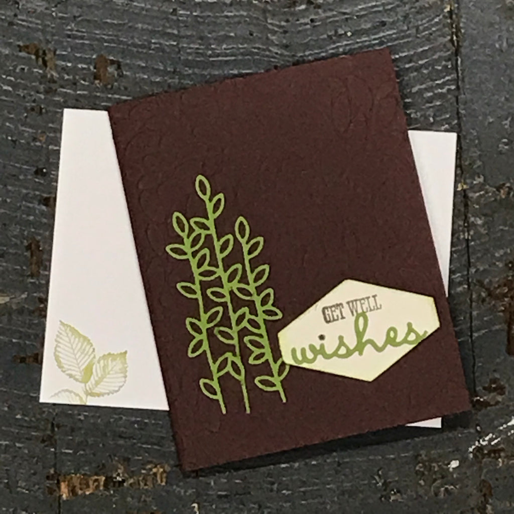 Get Well Wishes Brown Green Handmade Stampin Up Greeting Card with Envelope