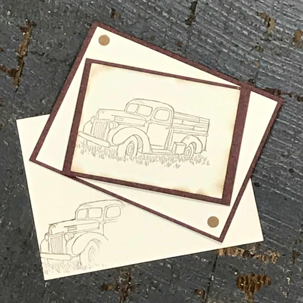 Vintage Truck Blank Note Handmade Stampin Up Greeting Card with Envelope